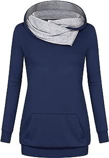 Womens Long Sleeve Pullover Hoodie Tunic Sweatshirts with Kangaroo Pocket