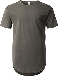 Mens Hipster Hip Hop Elong Round Hemline Crewneck T-Shirt
