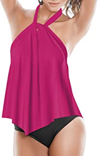 Upopby Women's Sexy High Neck One Piece Swimsuits Halter Flounce Backless Bathing Suits Plus Size Swimwear Monokini