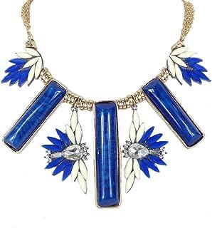 Azure' Statement Bib Necklace, Blue/Ivory