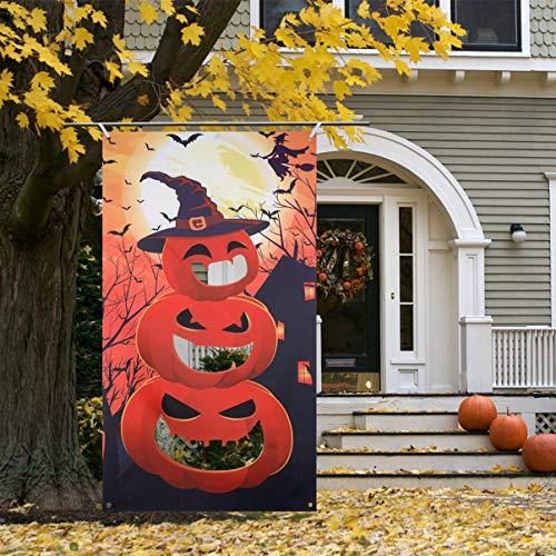 CLISPEED Halloween Sitzsack Werfen Spiel Kit Kürbis Banner mit 3 Sitzsäcken, Halloween Party Spiele Indoor Outdoor Spaß