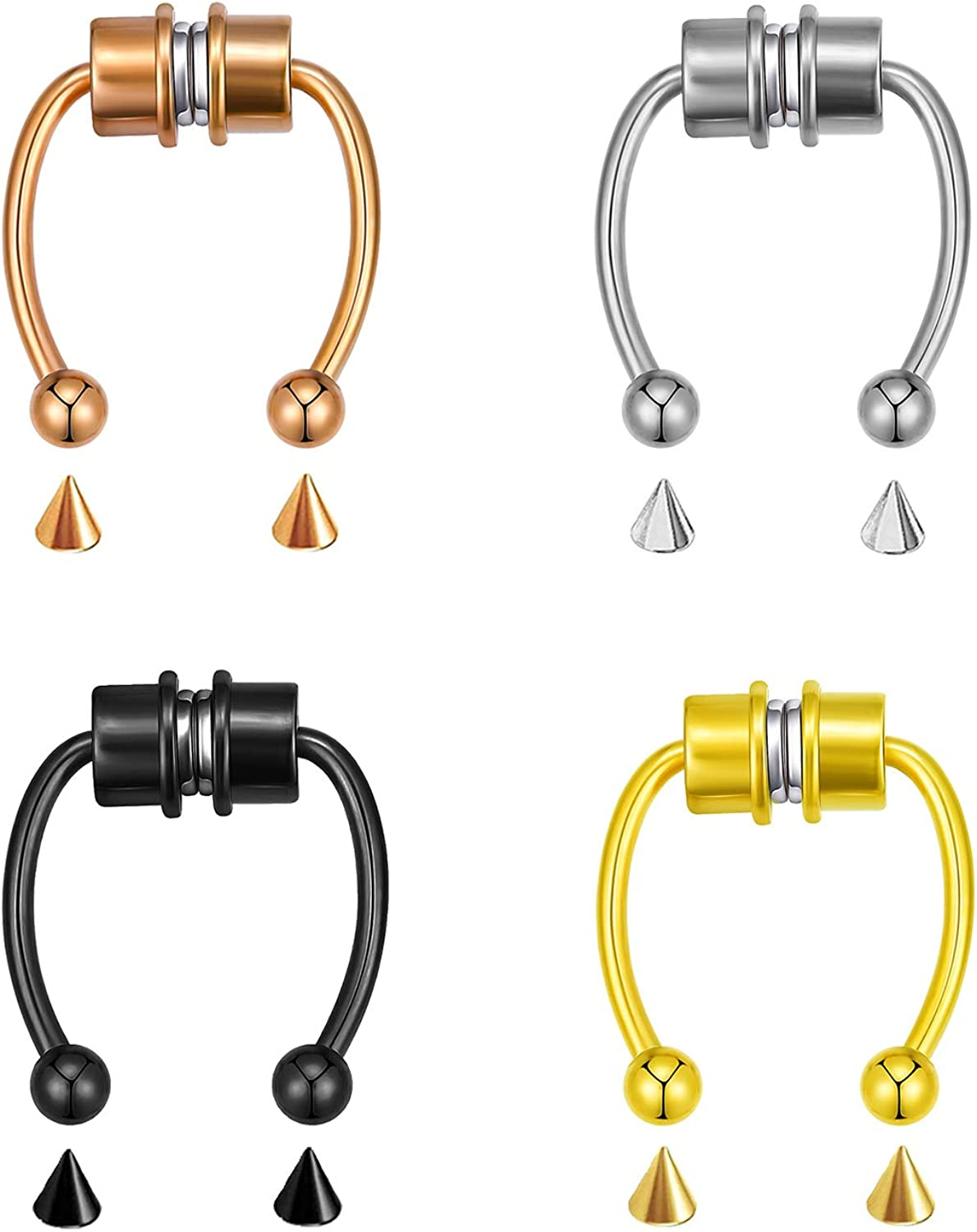 SOOWOOT Magnetic Fake Nose Ring - Horseshoe Ring 316L Stainless Steel Faux Nose Ring Non Piercing Clip Nose Hoop Rings for Women Girls