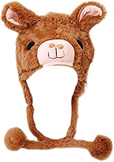 Winter Plush Animal Hat Alpaca,Brown,OS