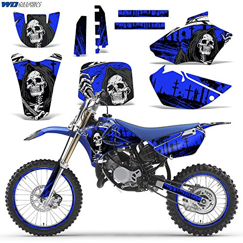 Wholesale Decals MX Dirt Bike Graphics kit Sticker Decal Compatible with Yamaha YZ85 2002-2014 - Reaper V2 Blue