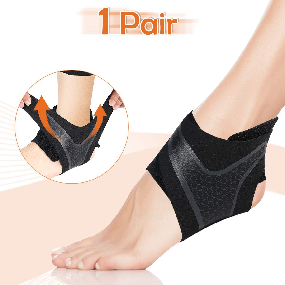 2 Pack Ankle Compression Brace Stabilizer Ankle Sprained Recovery Adjustable for Plantar Fasciitis Swelling Pain Men and Women Running Basketball CHARMINER Ankle Support Brace