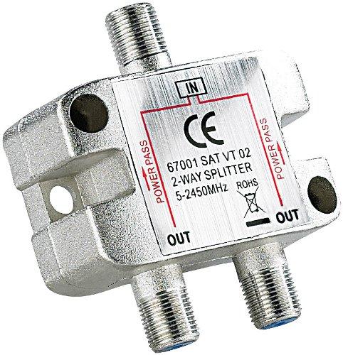 esoSAT Sat weiche: Sat-Verteiler 2-Fach, 5-2400 MHz, mit Gleichspannungs-Durchgang (Sat Splitter)