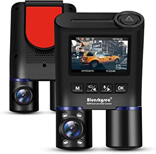 Blueskysea B2W Dual Lens Dash Cam Compatible for Uber Taxi, Infrared Night Vision Car Camera Full HD 1080P Front and Inside Views Dash Camera with 32GB SD Card (400GB max), GPS Module