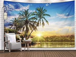 Shorping Wall Tapestry,Wall Tapestry, 80x60Inches Home Art of Cotton for Décor Living Room Dorm Beautiful Sunrise and Tropical Palms