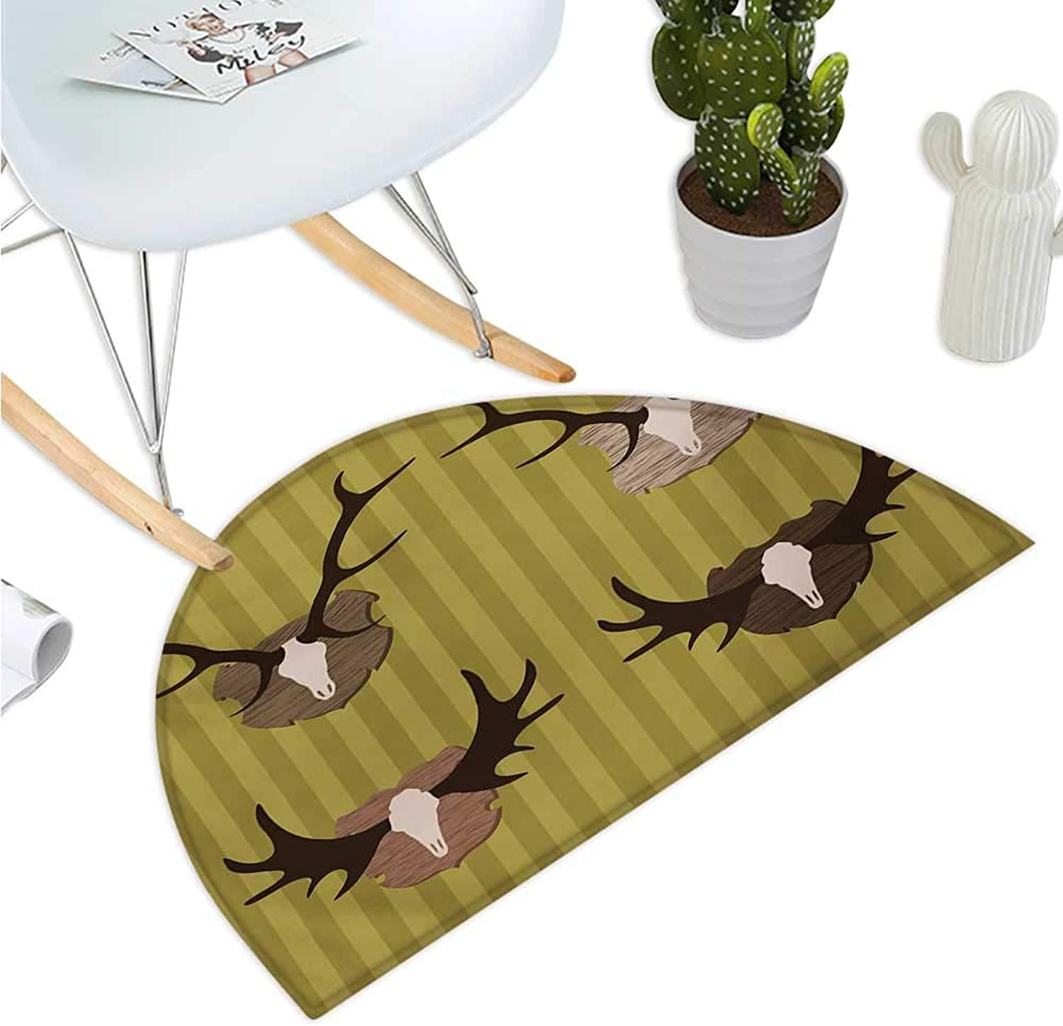 Hunting Semicircular Cushion Deer and Moose Horns Trophy on Striped Background Mountain Cottage Print Entry Door Mat H 39.3  xD 59  Khaki Multicolor