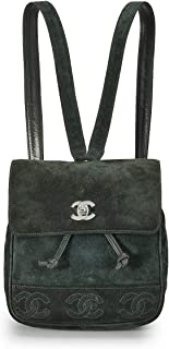 CHANEL Green Suede 3 'CC' Backpack Medium (Pre-Owned)