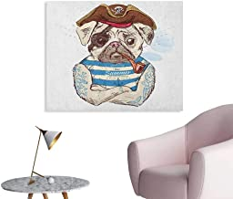 Anzhutwelve Pug Photo Wall Paper Pirate Pug Conqueror of The Seas Pipe Skulls and Bones Hat Striped Sleeveless T Shirt The Office Poster Brown Blue W32 xL24