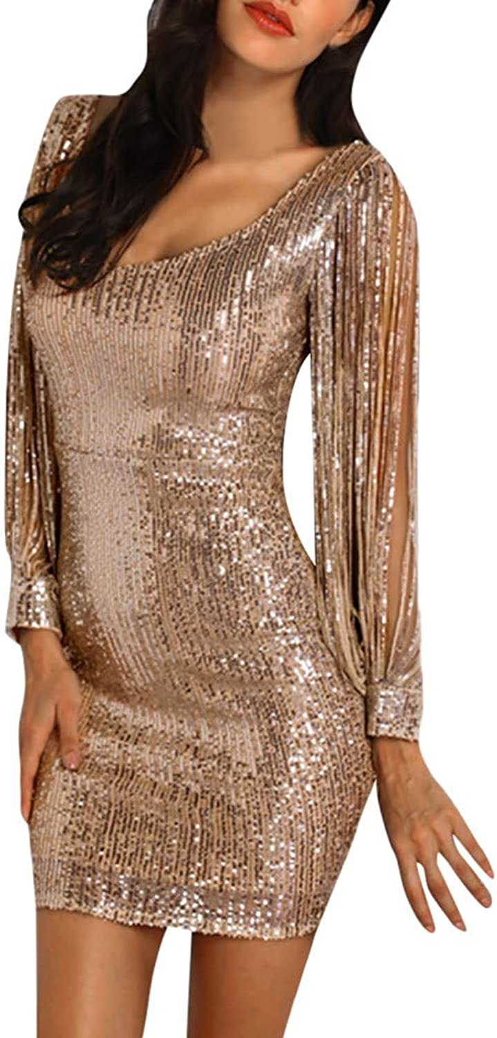 Cenglings Women's Sparkle Glitzy Glam Sequin Tassel Long Sleeve Hollow Out Flapper Party Club Dress Slim Fit Mini Dress