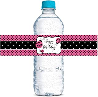 """Pink Lucky Ladybug Themed Birthday Party Waterproof Water Bottle Sticker Wrappers, 20 1.75"""" x 8.5"""" Wrap Around Labels by A..."""