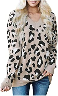 Women's Sweatshirt Loose Leopard Star Shape Print Knitted Pullover Top Long Sleeve Oversized V-Neck Sweater Blouse