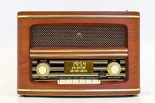 GPO - Radio - Winchester- Digital (DAB/FM) & LCD Display With Sleep Timer - Alarm Clock Radio For Home with Wood Finish