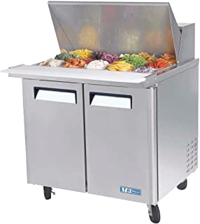 Turbo Air MST-36-15 Refrigerated Prep Table, 15 Pan, Two Door, 11 cu ft