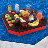 Polar Whale Large Floating Spa Hot Tub Bar Drink and Food Table Red and Black Refreshment Tray for Pool or Beach Party Float Lounge Durable Foam 23.5 Inches 9 Compartment UV Resistant