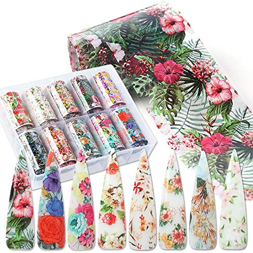BFY Nail Foil Nail Art Stickers Nail Transfer Tips Manicure Art 10 Rolls Flowers Starry Sky Nail Decals Manicure Tips Wraps Nail Art Decorations for Women Floral Acrylic Nail Art Supplies