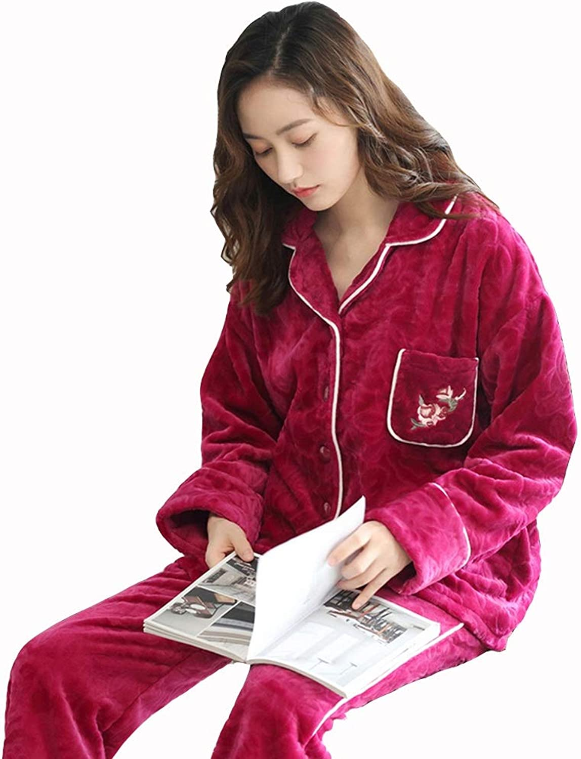 GWDJ Pajamas, Printing Splicing Edge Pajamas Female Winter Thicken Home Clothing Keep Warm Convenient Comfortable Loose Two Sets of Casual Wear, 4 colors Optional (color   pink red, Size   XL)