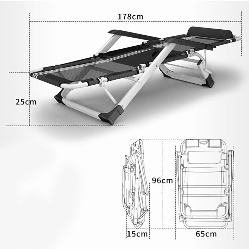 LLSS Fauteuil inclinable Pliant, chaises Longues Zero Gravity Chair avec accoudoirs Confortables et Appui-tête réglable Tissu Teslin Respirant, pour Balcon de Salon standard