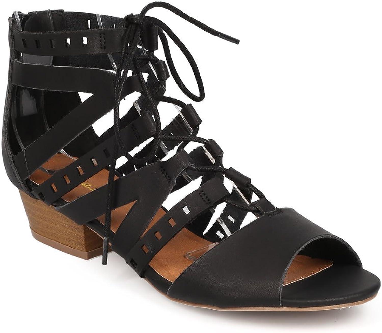 Qupid Women Leatherette Peep Toe Gilly Tie Slit Low Heel Sandal EA33 - Black