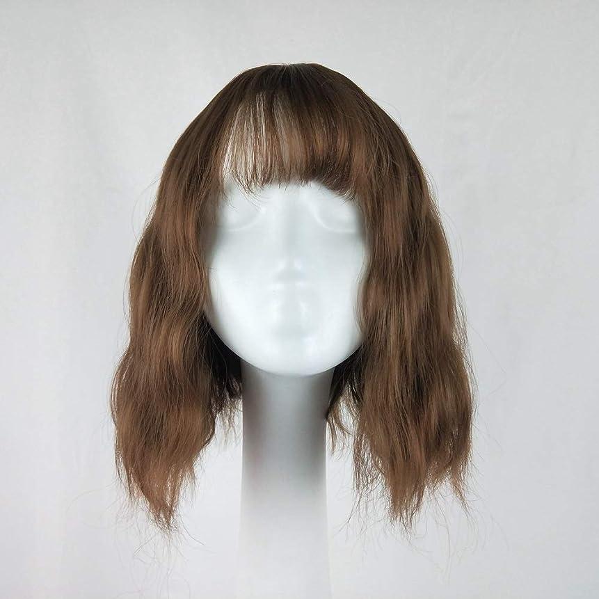 引っ張る寄付バッジZXF ショートヘア、ショートカーリーヘア、コーン、ホット、リアル、エアバン、ウィッグ、ウィッグ、ブラウン 美しい