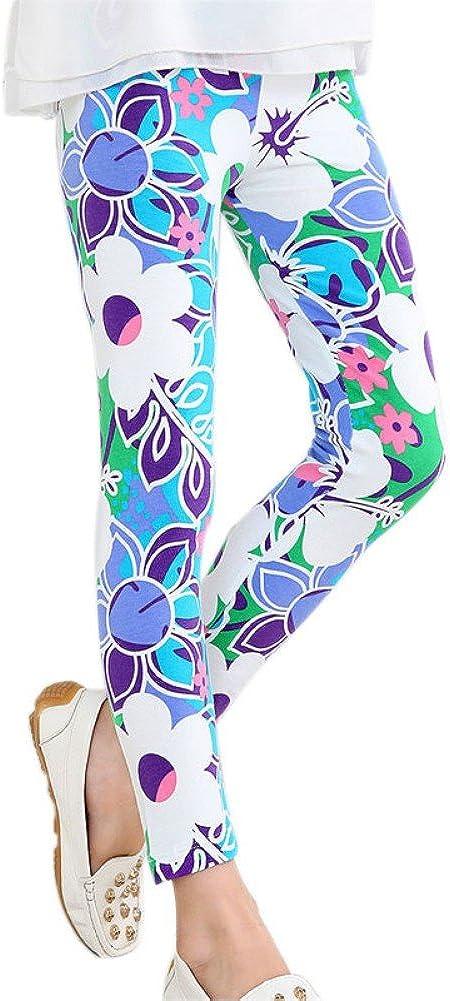 Weixinbuy Kid Girls Floral Print Leggings Slim Long Pants Tights Trousers