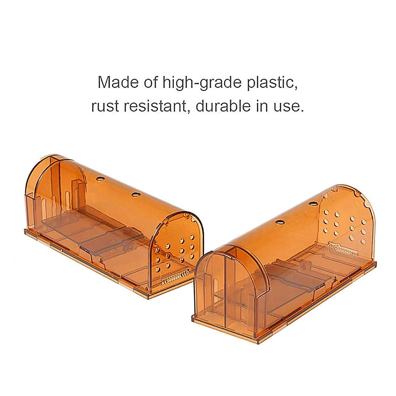 しないエンディング広々としたげっ歯類のトラップ、マウスのトラップ、2ピースの人道的なマウストラップケージ自動ロックネズミ捕りプラスチック透明再利用可能マウス齧歯類キャッチャークリーニングブラシ