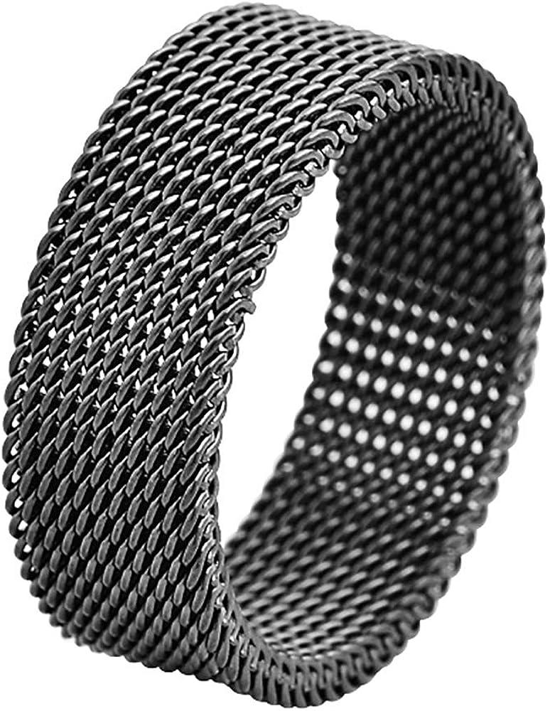 Geoffrey Beene Stainless Steel Men's Comfort Fit Mesh Ring