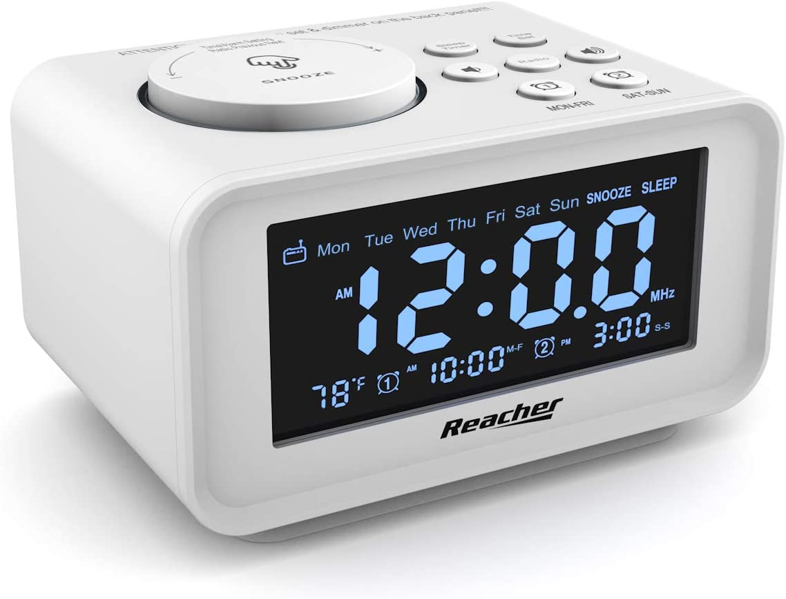 REACHER Dual Alarm Clocks Radio - Weekday/Weekend Mode, 0-100% Dimmer, Dual USB Charging Ports, 6 Wake Up Sounds, Adjustable Volume, FM Radio with Sleep Timer, Battery Backup, Small Size for Bedroom
