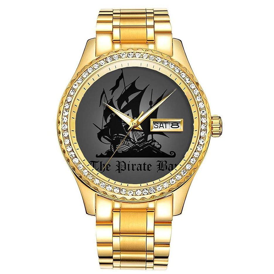 暗いボンド雇用ダイヤモンドゴールドメッキウォッチルミナスラグジュアリー防水ユニークなゴールド腕時計 416. 海賊湾