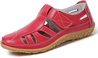 faf45919 Z.SUO Sandalias Mujer de Cuero Planas Cómodos Casual Mocasines Loafers Moda  Zapatos Plano Verano