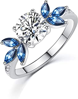 SR Womens Rings 18k White Gold Platinum-Plated Sparkling Blue Cubic Zirconia Wedding Engagement Band, Size 5-9