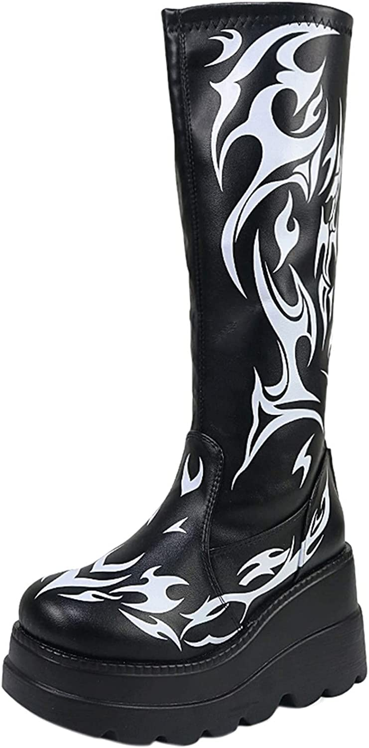 Boots For Women Platform Chunky Shoes Casual Boots Wedges Punk Goth Zipper Mid Calf Boots