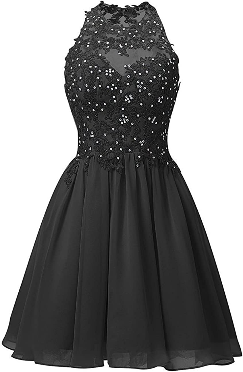 SDRESS Women's Crystal Lace Appliques Scoop Neck Short Cocktail Homecoming Dress