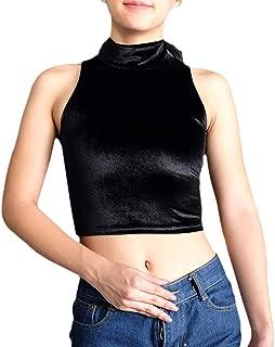 Turtle Neck Velvet Solid Crop Tank Top Women Sleeveless Vest Camis Racerback
