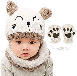 Chapeau Bonnet Enfant Hiver Bébé,Ensemble Set de 3