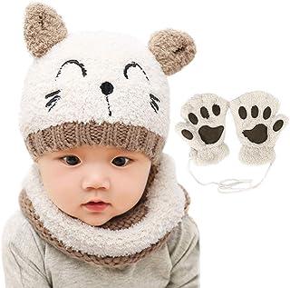 Bearbro Bambino Cappello Inverno, Infantile Invernale del Bambino ha Lavorato a Maglia Il Cappello con la Sciarpa Guanti 3...