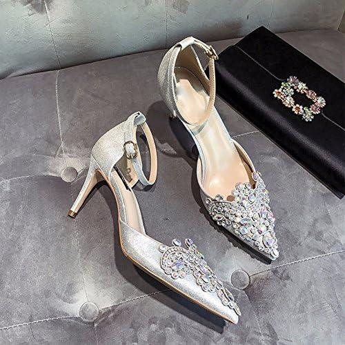 SFSYDDY zapatos de boda mujer taladro de agua talones finos zapatos de cristal rojo de tacones altos zapatos de novia zapatos únicos