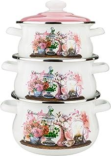 """Epos 3-Piece Enamel """"Elsaise"""" Cookware Set, Enamel Cooking Pots with Lid, #3 Spherical Pans with Stainless Still Rim ( 1.6 Qt; 2.6 Qt; 3.6 Qt)"""