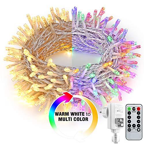 Guirnalda de 200 luces LED con mando a distancia, 20m blanco cálido y multicolor regulable 9 modos con transformador y temporizador para casa Navidad, fiesta, jardín decoración
