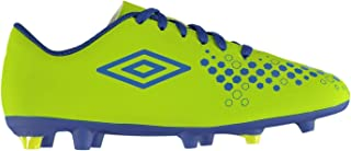 Accure Firm Ground Football Boots Juniors Lime/Royal Soccer Cleats Shoes