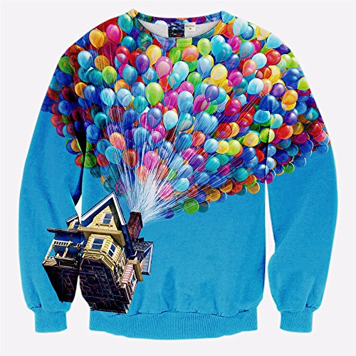 WHLWY Mode Liebhaber 3D Stereo Ballons Paar Pullover Mantel ABB. XL Kapuzenpullover