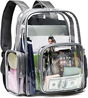 Clear Backpack, F-color Heavy Duty Large Clear Bag Reinforced Straps, Waterproof Oxford Fabric Bottom Transparent Backpack for Adults, Girls, Boys, School, Security, Stadium, Work, Travel, Grey