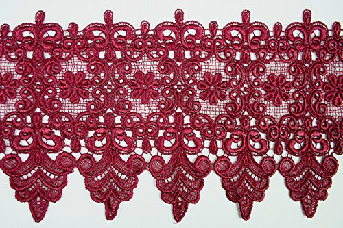 10 Colors Floral Embroidered Scalloped Venise Guipure Applique Lace Trim (Burgundy)