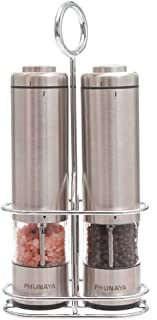 Phunaya Electric Salt and Pepper Grinder Set With Upgraded Motor | Complimentary 304 Stainless Steel Mill Stand | LED Light |Battery Operated | Adjustable Ceramic Coarseness |set of 2