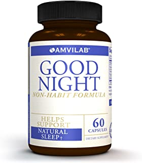 Amvilab GOOD NIGHT- All Natural Non-Habit Forming Sleep Aid Supplement. Exclusive Formula with Clinically Proven Ingredien...