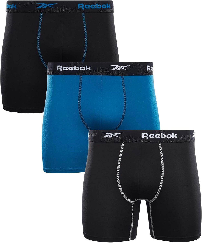 Reebok Men's Sport Soft Performance Boxer Briefs (3 Pack) (Black/Blue, X-Large)
