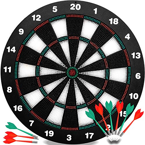 INNOCHEER Safety Darts and Kids Dart Board Set - 16 Inch Rubber Dart Board with 9 Soft Tip Darts for Children and Adults