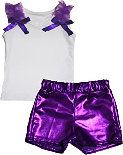 Petitebella Girls' Plain White Cotton Shirt Bling Short Set